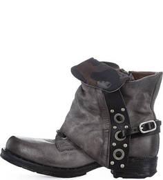 Кожаные ботинки с металлическим декором A.S.98