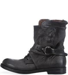 Высокие серые ботинки из нубука A.S.98