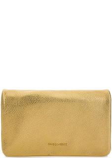 Золотистый кожаный клатч с откидным клапаном Coccinelle