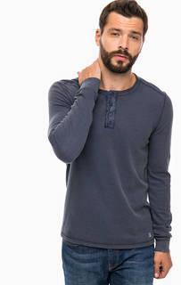 Синяя футболка с вырезом на пуговицах Cinque