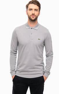 Серая футболка поло с длинными рукавами Lacoste