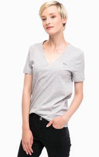 Однотонная футболка с треугольным вырезом Lacoste
