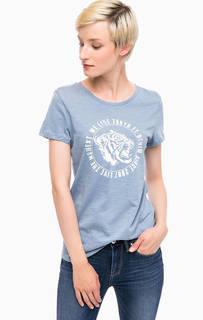 Синяя футболка с принтом Tom Tailor Denim