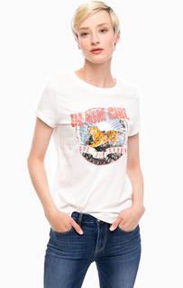 Белая футболка с ярким принтом Tom Tailor Denim