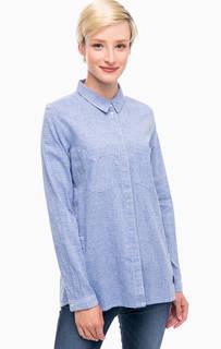 Синяя хлопковая рубашка в полоску Tom Tailor Denim
