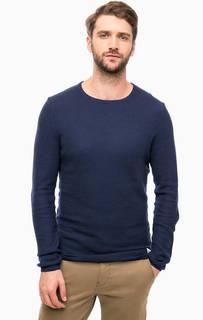 Синий хлопковый джемпер с круглым вырезом Tom Tailor Denim