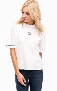 Белая трикотажная футболка с принтом Mavi
