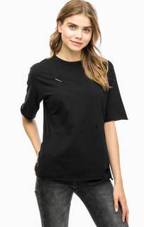 Черная хлопковая футболка Alcott