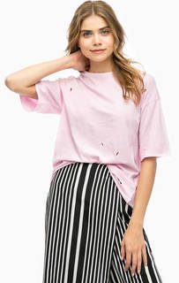 Хлопковая футболка розового цвета Alcott
