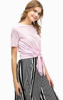 Розовая хлопковая футболка с принтом Alcott