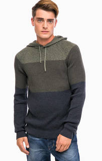 Хлопковый свитер цвета хаки с капюшоном Mavi