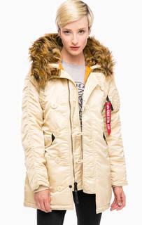Удлиненная куртка молочного цвета Alpha Industries