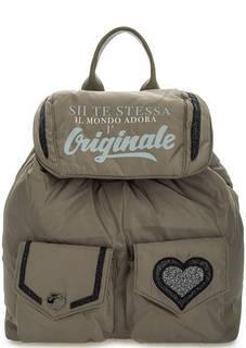 Текстильный рюкзак с блестящими нашивками Le Pandorine