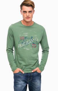 Зеленая хлопковая футболка с принтом Pepe Jeans