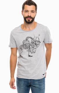 Серая хлопковая футболка с принтом Blend
