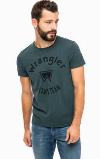 Бирюзовая хлопковая футболка с принтом Wrangler