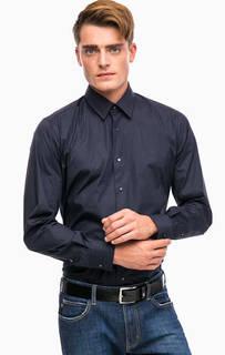 Синяя хлопковая рубашка на кнопках Lagerfeld