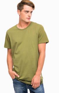 Хлопковая футболка цвета хаки Jack & Jones