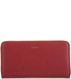Кожаный кошелек бордового цвета Dkny