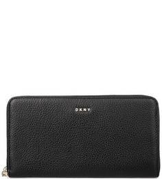 Кожаный кошелек черного цвета Dkny