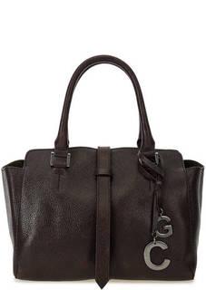 Темно-бордовая кожаная сумка на молнии Gianni Conti