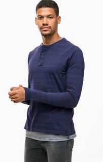 Синяя хлопковая футболка с длинными рукавами Scotch&Soda