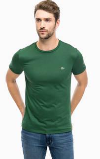 Зеленая хлопковая футболка с круглым вырезом Lacoste