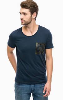 Синяя хлопковая футболка с карманом Mavi