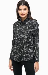 Черная хлопковая рубашка с цветочным принтом Mavi