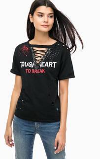 Черная футболка с принтом и декоративной шнуровкой Mavi