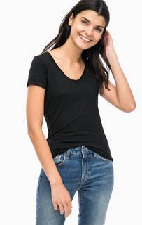 Черная хлопковая футболка с треугольным вырезом Mavi