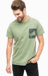 Хлопковая футболка цвета хаки Mavi