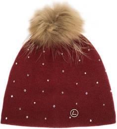 Красная шапка с меховым помпоном Luhta