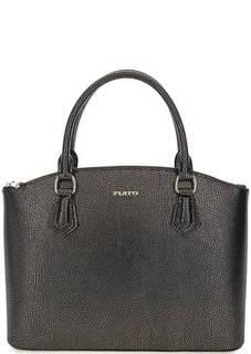 Черная кожаная сумка с короткими ручками Fiato