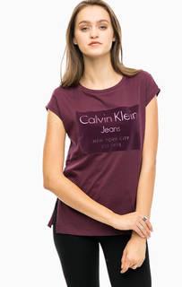 Фиолетовая футболка с принтом Calvin Klein Jeans