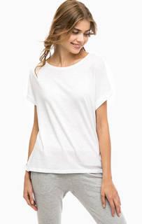 Однотонная белая футболка из хлопка Juvia