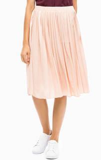 Розовая плиссированная юбка средней длины More & More