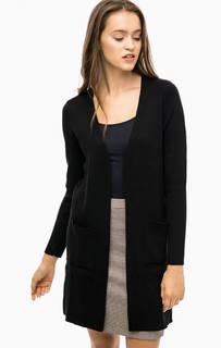 Черный длинный кардиган с карманами More & More