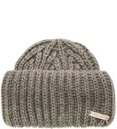 Объемная серая шапка с отворотом Noryalli