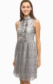 Серое кружевное платье с плиссированной юбкой Darling