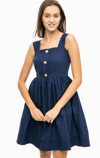 Синее платье на бретелях с пышной юбкой Darling