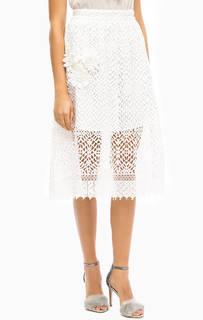 Белая кружевная юбка с нашивками Darling