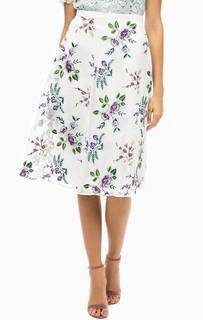 Белая расклешенная юбка с вышивкой Darling