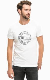 Белая хлопковая футболка с принтом Lacoste