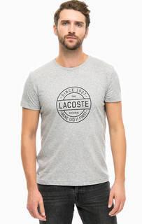 Серая хлопковая футболка с принтом Lacoste