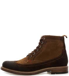 Коричневые замшевые ботинки на шнуровке и молнии Nobrand