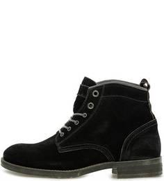 Черные замшевые ботинки на шнуровке Nobrand