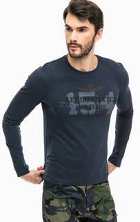 Синяя хлопковая футболка с принтом Aeronautica Militare