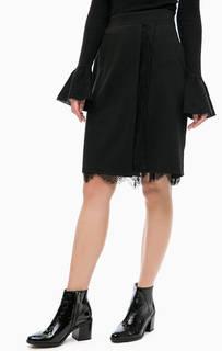 Черная юбка с кружевной подкладкой Blue Seven