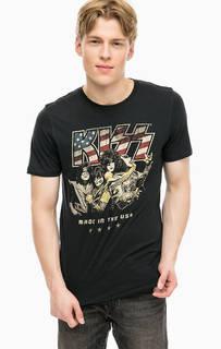 Черная хлопковая футболка с принтом Jack & Jones